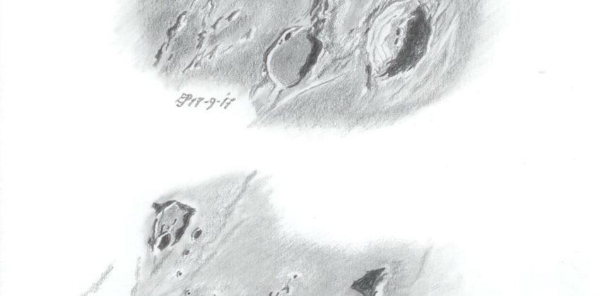 Vallis Schröteri en Prinz met Montes Harbinger (Grafitpotlood)