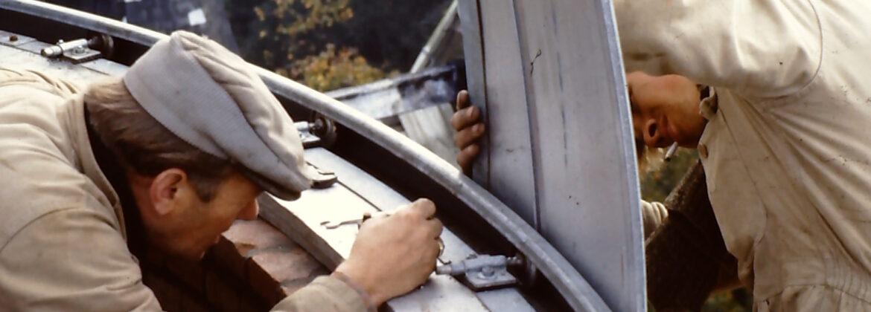 Opbouwen van de koepel in 1962